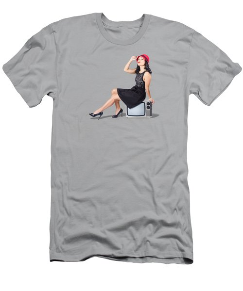 Pretty Pinup Woman Sitting On 70s Tv Set Men's T-Shirt (Athletic Fit)