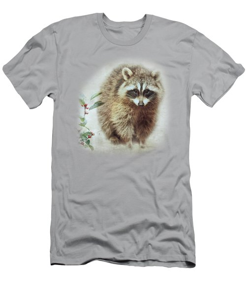 Raccoon In Winterberry Men's T-Shirt (Athletic Fit)