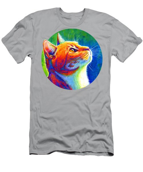 Rainbow Cat Portrait Men's T-Shirt (Athletic Fit)