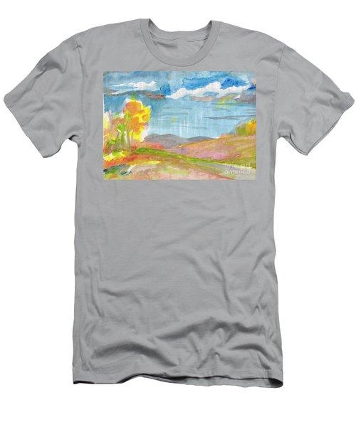 Men's T-Shirt (Athletic Fit) featuring the painting Rainy Autumn by Irina Dobrotsvet