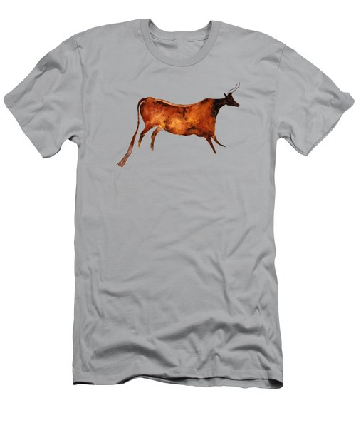 Red Cow In Beige Men's T-Shirt (Athletic Fit)