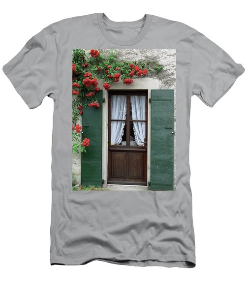 Red Rose Door Men's T-Shirt (Athletic Fit)