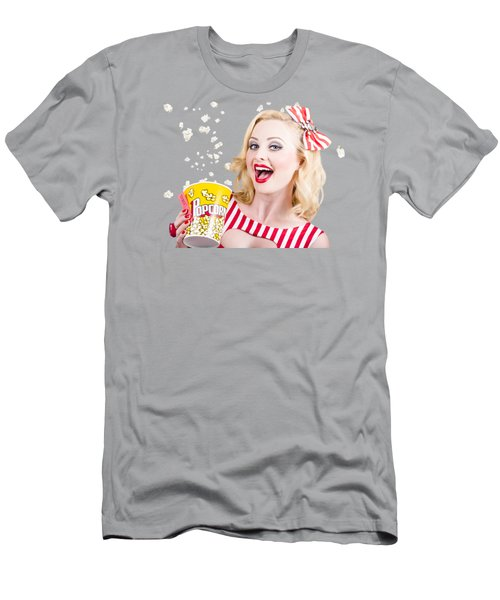 Retro Girl Taking Popcorn To Cinema Men's T-Shirt (Athletic Fit)