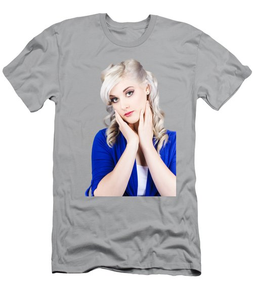 Retro Pin-up Woman With Beautiful Face Men's T-Shirt (Athletic Fit)