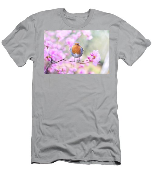 Robin On Pink Flowers Men's T-Shirt (Athletic Fit)