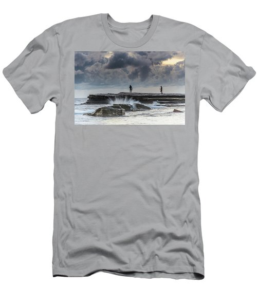 Rock Ledge, Spear Fishermen And Cloudy Seascape Men's T-Shirt (Athletic Fit)