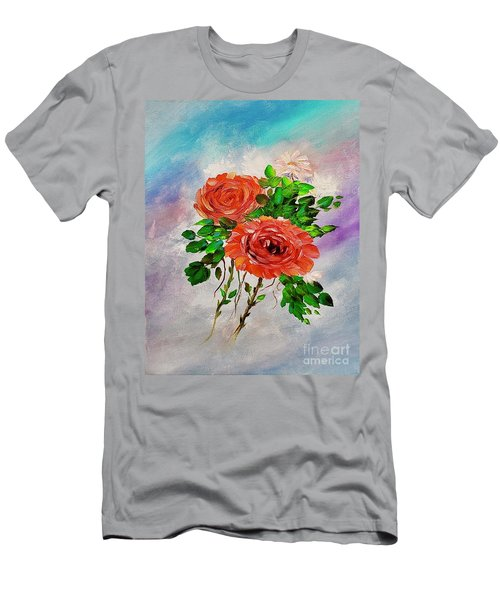 Men's T-Shirt (Athletic Fit) featuring the painting Roses by Mary Scott