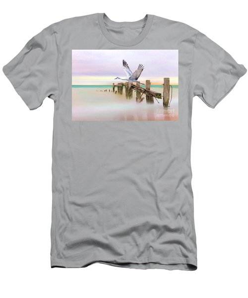 Sandhill Crane And Old Dock Men's T-Shirt (Athletic Fit)