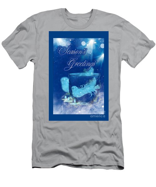 Men's T-Shirt (Athletic Fit) featuring the mixed media Season's Greetings Blue With Bird by Rachel Hannah