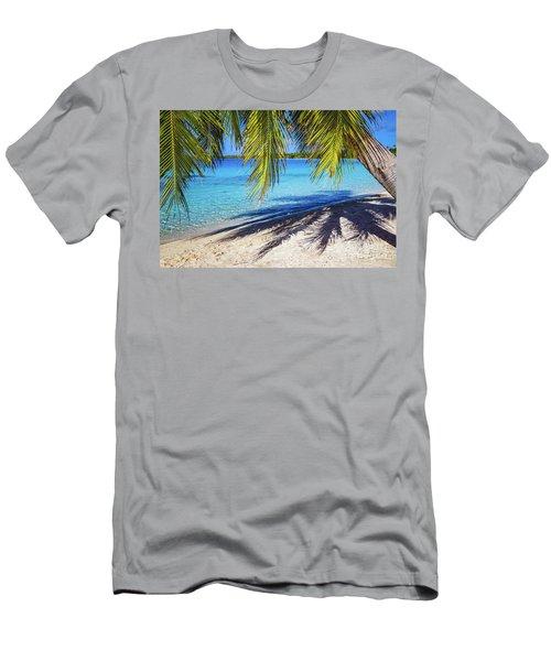 Shadows On The Beach, Takapoto, Tuamotu, French Polynesia Men's T-Shirt (Athletic Fit)