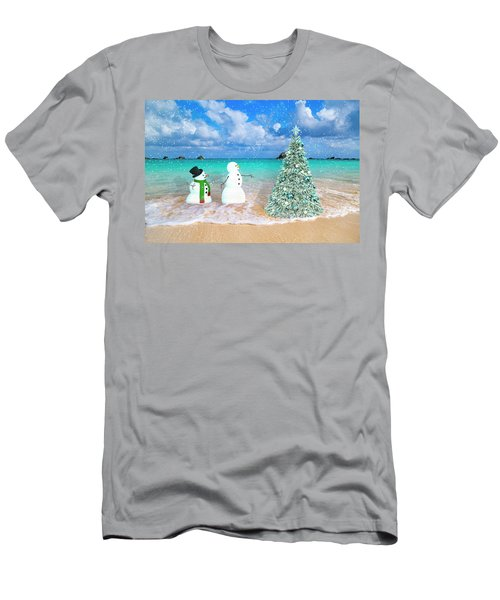 Snowy Couple On Christmas Tree Beach Men's T-Shirt (Athletic Fit)