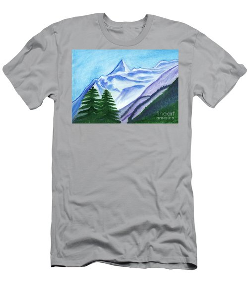 Two Mountain Spruce Against The Backdrop Of Snow-capped Peak Men's T-Shirt (Athletic Fit)