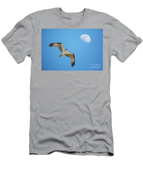 Soaring Osprey And Gibbous Moon Men's T-Shirt (Athletic Fit)