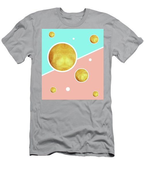 Soft Pink, Blue And Gold Pattern - Pastel Colors - Abstract Pattern Design - Modern, Minimal Men's T-Shirt (Athletic Fit)