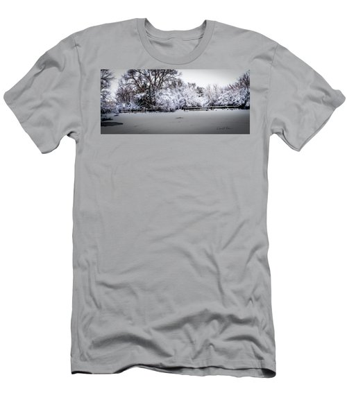 Men's T-Shirt (Athletic Fit) featuring the photograph Standing Bear Lake Coated In Snow by Edward Peterson