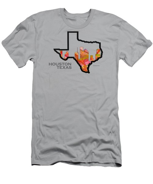 State Map - Houston Texas - Summer Swirl Clear Men's T-Shirt (Athletic Fit)