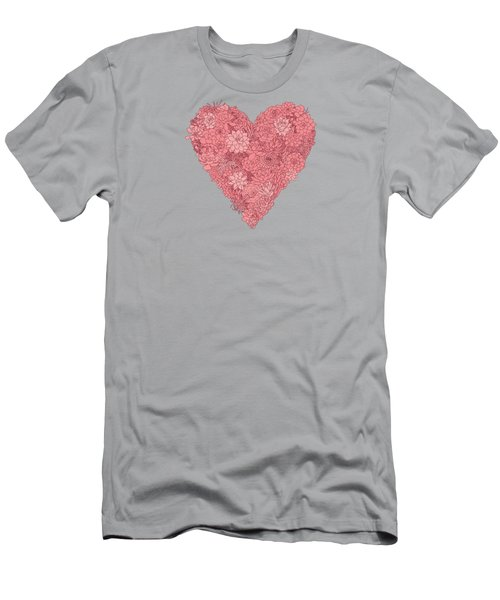 Pink Succulent Heart Dark Background Men's T-Shirt (Athletic Fit)