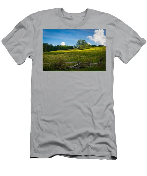 Blue Ridge Parkway - Summer Fields Of Yellow - Lone Tree Men's T-Shirt (Athletic Fit)
