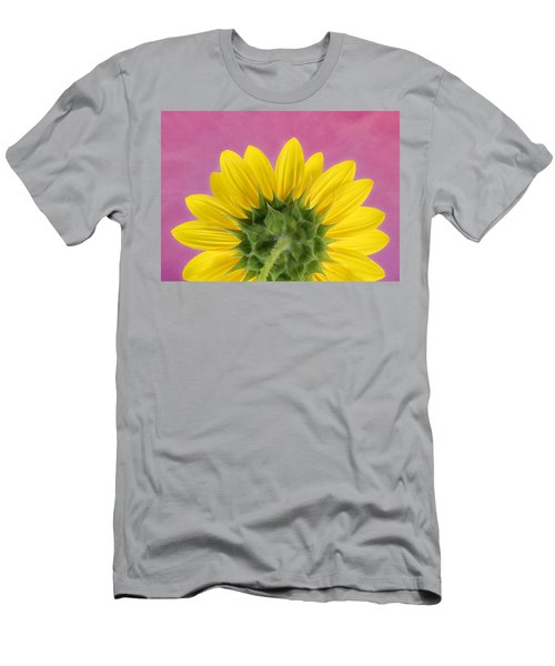 Men's T-Shirt (Athletic Fit) featuring the photograph Sunflower On Pink - Botanical Art By Debi Dalio by Debi Dalio