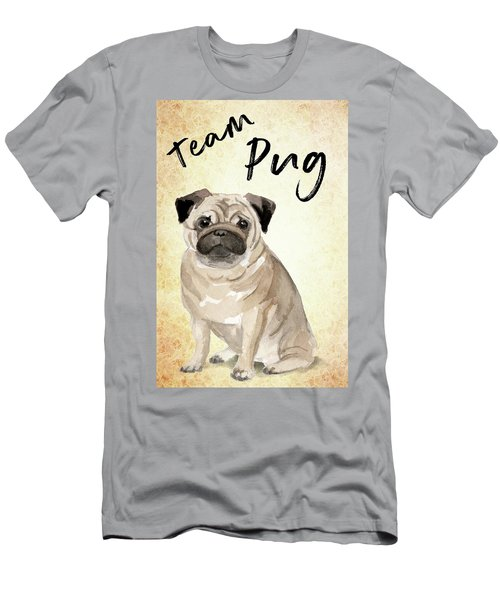 Men's T-Shirt (Athletic Fit) featuring the painting Team Pug Cute Dog Art by Matthias Hauser