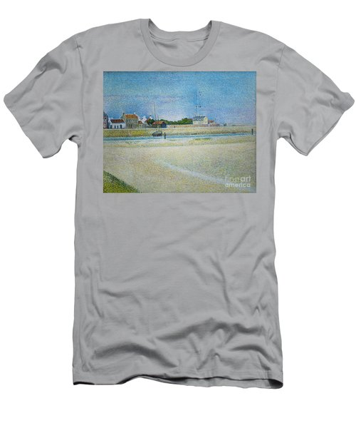 Men's T-Shirt (Athletic Fit) featuring the painting The Channel Of Gravelines Grand Fort Philippe by George Seurat