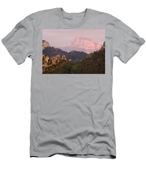 Men's T-Shirt (Athletic Fit) featuring the photograph The Last Of The Light At Pena Montanesa by Stephen Taylor