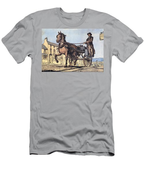 Men's T-Shirt (Athletic Fit) featuring the painting The Post Car, Clifden, Galway by Val Byrne