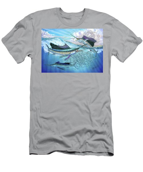 Three Sailfish And Bait Ball Men's T-Shirt (Athletic Fit)