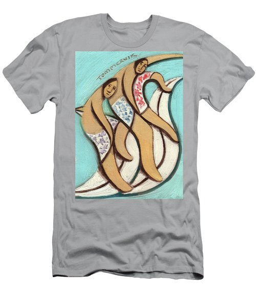Tommervik Abstract Hawaiian Surfers Surfing Pipline Art Print Men's T-Shirt (Athletic Fit)