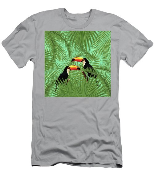 Tropical Forest - Toucan Birds - Tropical Palm Leaf Pattern - Leaf Pattern - Tropical Print 1 Men's T-Shirt (Athletic Fit)