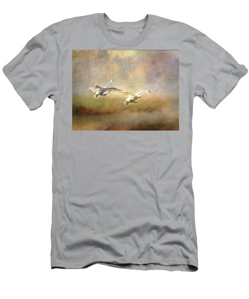 Men's T-Shirt (Athletic Fit) featuring the photograph Trumpeter Swan Landing - Painterly by Patti Deters