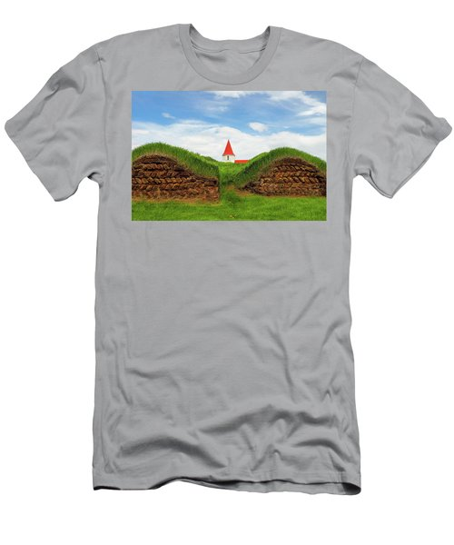 Men's T-Shirt (Athletic Fit) featuring the photograph Turf House And Steeple - Iceland by Marla Craven