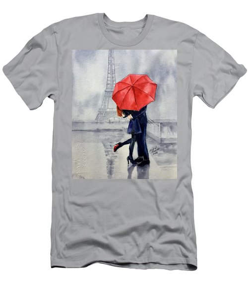 Men's T-Shirt (Athletic Fit) featuring the painting Under A Red Umbrella by Michal Madison