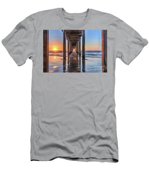 Under Scripps Pier At Sunset  ..autographed.. Men's T-Shirt (Athletic Fit)