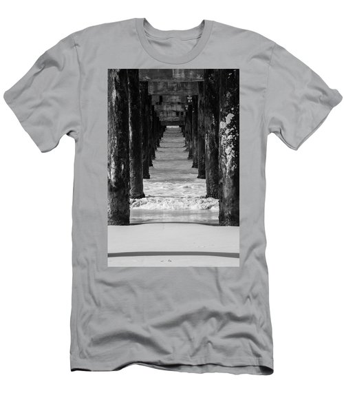 Men's T-Shirt (Athletic Fit) featuring the photograph Under The Pier #2 Bw by Stuart Manning