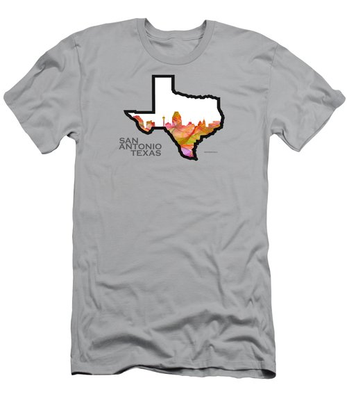 Us State Map -text San Antonio Texas - Summer Swirl Men's T-Shirt (Athletic Fit)