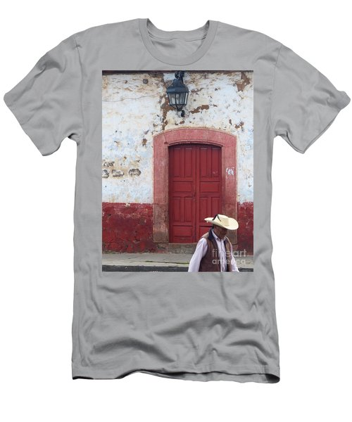 Men's T-Shirt (Athletic Fit) featuring the photograph Walking By In Patzcuaro by Rosanne Licciardi
