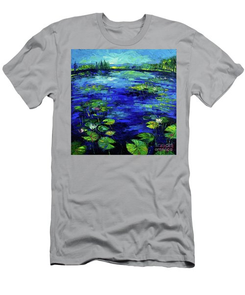Water Lilies Story Impressionistic Impasto Palette Knife Oil Painting Mona Edulesco Men's T-Shirt (Athletic Fit)