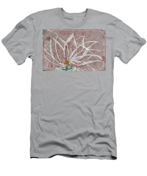 White Abstract Floral On Silverpastel Pink Men's T-Shirt (Athletic Fit)