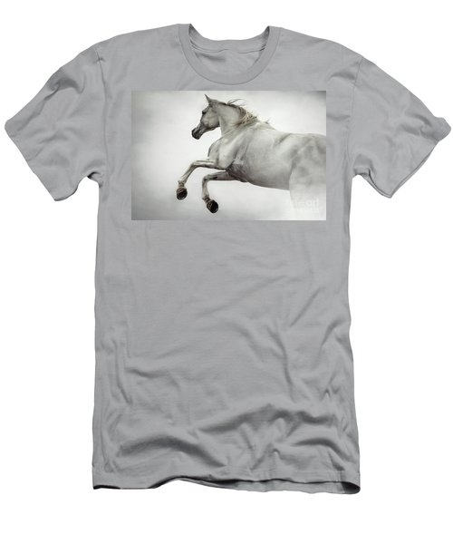 Men's T-Shirt (Athletic Fit) featuring the photograph White Horse Rearing Up by Dimitar Hristov