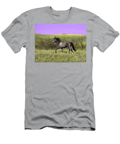 Wild Stallion On The Move In North Dakota Men's T-Shirt (Athletic Fit)