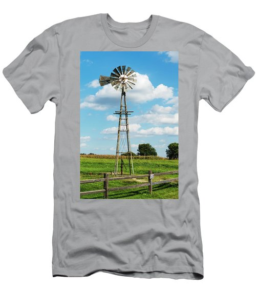 Men's T-Shirt (Athletic Fit) featuring the photograph Windmill And Pump by Edward Peterson