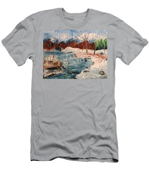 Men's T-Shirt (Athletic Fit) featuring the painting Winter Stream by Denise Tomasura