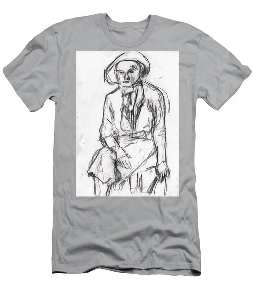 Woman In A Hat Drawing Men's T-Shirt (Athletic Fit)