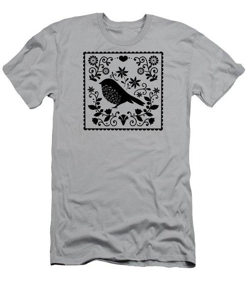 Woodland Folk Black And White Blue Bird Tile Men's T-Shirt (Athletic Fit)