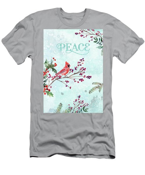 Woodland Holiday Peace Art Men's T-Shirt (Athletic Fit)