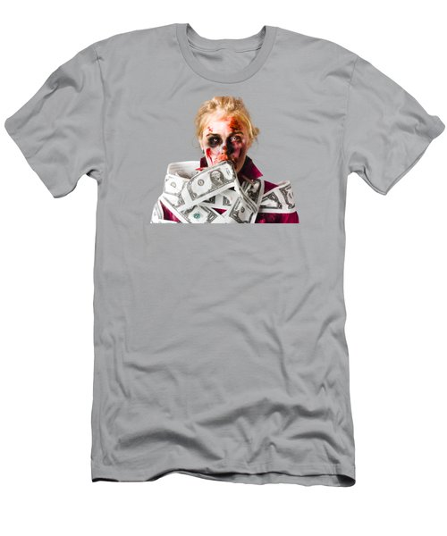 Worried Zombie With Dollar Bills Men's T-Shirt (Athletic Fit)