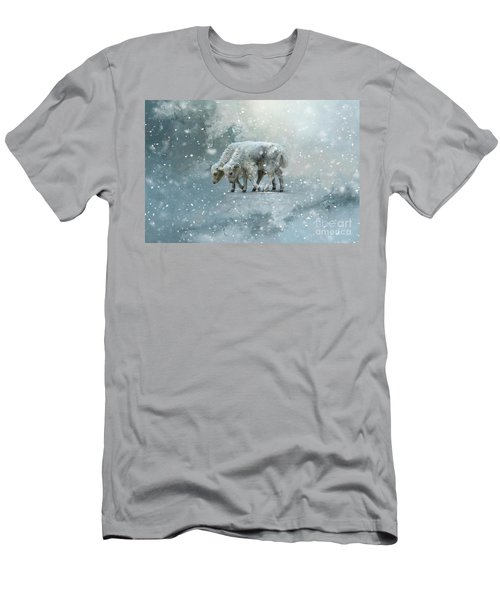 Yaks Calves In A Snowstorm Men's T-Shirt (Athletic Fit)