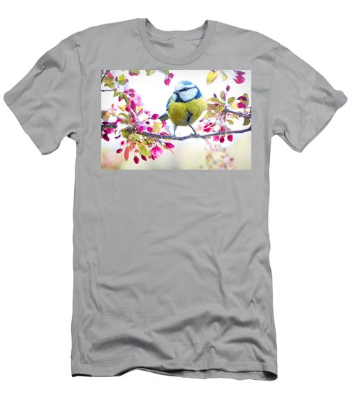 Yellow Blue Bird With Flowers Men's T-Shirt (Athletic Fit)