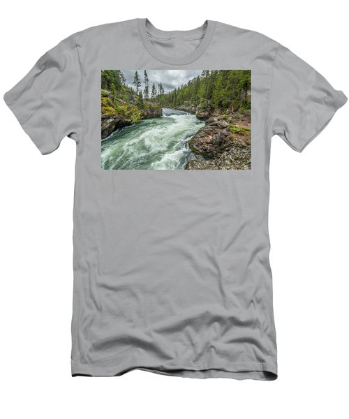 Men's T-Shirt (Athletic Fit) featuring the photograph Yellowstone River Falling by Matthew Irvin
